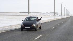 Auto op weg stock afbeeldingen