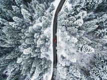 Auto op weg in de wintertrog een bos met sneeuw wordt behandeld die Royalty-vrije Stock Fotografie