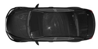 Auto op wit wordt geïsoleerd - zwarte verf, gekleurd glas - hoogste mening die vector illustratie