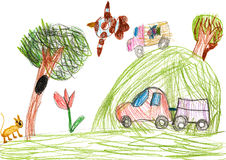 Auto on outdoor. child drawing Stock Photos