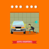Auto painting services vector illustration in flat style. Vector illustration of young man spraying paint with spray gun on car body. Auto painting services Stock Images