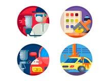 Auto painting set icons Royalty Free Stock Photos