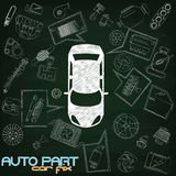 Auto part chalk Royalty Free Stock Photography