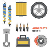 Auto part Flat Set on white Royalty Free Stock Photo