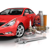 Auto parts with beautiful car. On white background stock photo