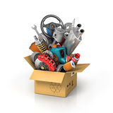 Auto parts in the card box. Royalty Free Stock Images