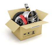 Auto parts in the cardboard box. Royalty Free Stock Photos
