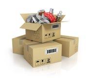 Auto parts in the cardbox. Automotive basket shop. Auto parts st stock illustration