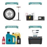 Auto parts flat icons. Royalty Free Stock Photos