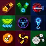 Auto parts icons set, flat style Stock Image
