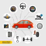 Auto parts maintenance icons. Stock Image