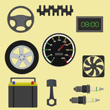 Auto parts maintenance icons. Vector illustration Stock Photo