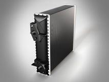 Auto parts radiator. Visualization of automotive radiator standing on the plane vector illustration