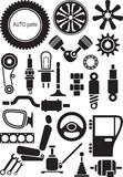 Auto parts. Set of vector signs Stock Images