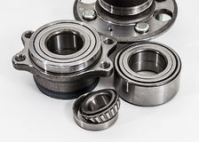 Auto Parts. Spare parts for the repair of cars. Bearings on a wh. Ite background Royalty Free Stock Photos