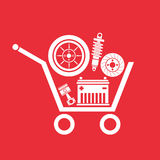 Auto parts in the supermarket trolley Royalty Free Stock Image