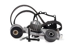 Auto parts. Timing belt kit and pump. On a white background royalty free stock photo