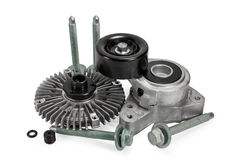 Auto parts. viscous muff. belt tensioner. bolts Stock Photo