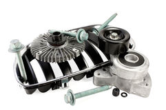 Auto parts. viscous muff. belt tensioner. bolts. radiator grille Royalty Free Stock Photos