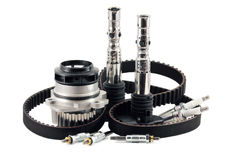 Auto parts. On a white background. belt. pump. spark plugs. glow plugs Royalty Free Stock Photo