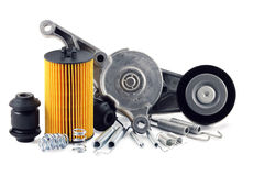 Auto parts. On a white background. filter, springs Stock Photo