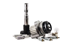 Auto parts. On a white background. lamps. pump. spark plugs. glow plugs Stock Photos