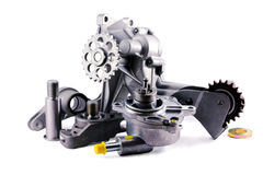 Auto parts. On a white background. pump; chain tensioner Stock Photo