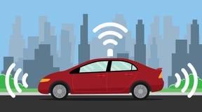 Auto que conduz a ilustração do carro com cor vermelha na estrada ilustração stock