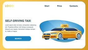Auto que conduz o carro do táxi Molde da Web da página da aterrissagem ilustração stock