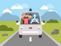 Auto que conduz o carro driverless inteligente ilustração stock