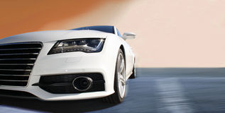 Auto Racing. White sports car on a colorful background Royalty Free Stock Photos