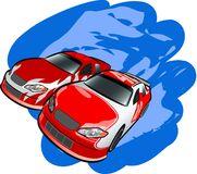 Auto Racing. A digital illustration of racing cars Stock Images