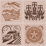 Auto racing emblems - Sport car logo illustration on light background. Royalty Free Stock Photography