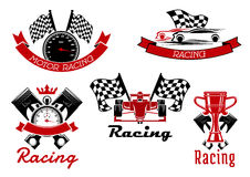 Auto racing sporting symbols with race cars Stock Images
