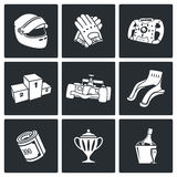 Auto Racing Vector Icons Set Royalty Free Stock Photos