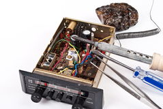 Auto radio repair Stock Photo
