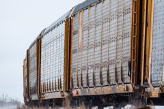 Auto Railway Cars Rounding a Bend Royalty Free Stock Image