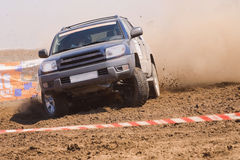 Auto rally raid 4X4 sprint race. Offroad auto rally raid in dirt Royalty Free Stock Photography