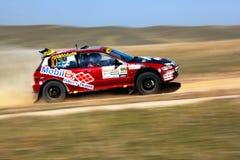 Auto rally in spring desert Stock Image