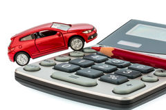 Auto, red pencil and calculator Royalty Free Stock Photography