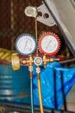 Auto refrigerant gauges. For car Stock Photography