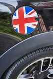 Auto refuel tank cap with Great Britain flag stock images