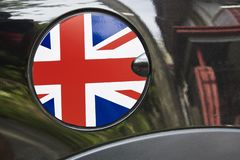 Auto refuel tank cap with Great Britain flag 3 royalty free stock photography