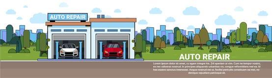 Auto Remontowej usługa garażu Mechnic pojazdu Warsztatowy Horyzontalny sztandar Z kopii przestrzenią ilustracja wektor