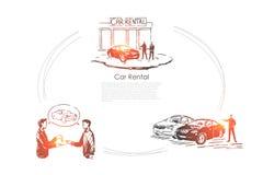 Auto rent, showroom, salesman and customer make deal, transport dealership service, vehicle sale center banner stock illustration