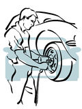 Auto repair. Illustration of a repairer to work Stock Images