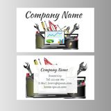 Auto repair business card template. Vector illustration Stock Photos