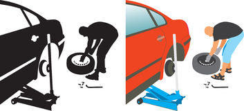 Auto repair. changing punctured auto tire. Man changing a punctured auto wheel tire royalty free illustration