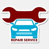 Auto repair design blue car. On gray background royalty free illustration