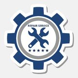 Auto repair design blue gear. On gray background royalty free illustration